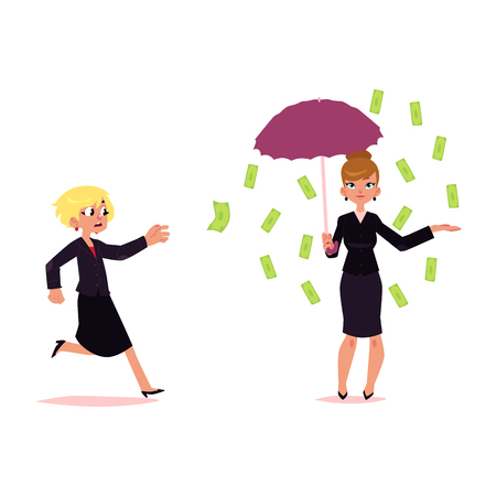 Woman standing under falling money rain with umbrella, anoher trying to grab a flying banknote, cartoon vector illustration isolated on white background. Concept of earning, flying money, wealth