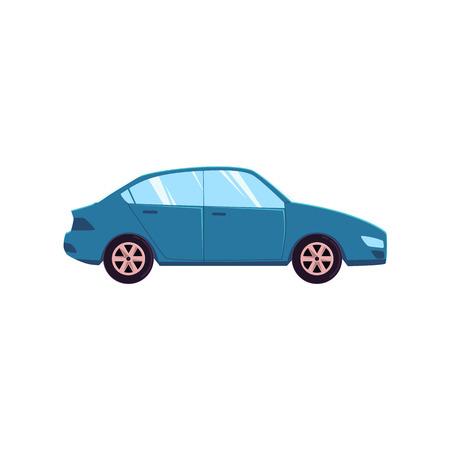 フラット漫画、コミック風ブルーカー、自動車、ホワイト背景に分離された側面図ベクトルイラスト。平型車、自動車、自動車用装飾要素