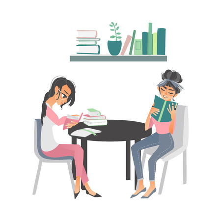 vector cartoon people reading books. Beautiful women in casual clothing sitting at chairs at circle table with books near bookshelf at home or library. Isolated illustration white background Vettoriali