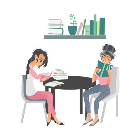 Les gens de dessin animé de vecteur, lire des livres. Belles femmes en vêtements décontractés assis à des chaises à la table circulaire avec des livres près de la bibliothèque à la maison ou à la bibliothèque. Fond blanc illustration isolé Banque d'images - 89306278