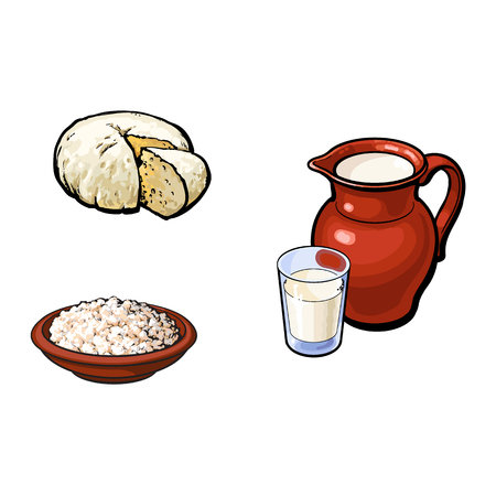 vector sketch glass of milk and ceramic pitcher jug crock, cottage cheese in pot brie soft cheese set. Isolated illustration on a white background. Healthy food dairy products, natural dieting concept
