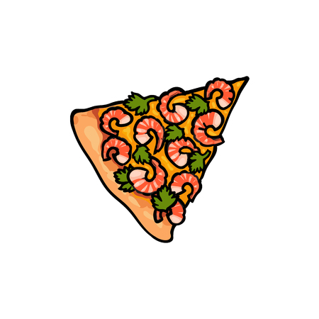 Vector flat pizza slice with seafood - Shrimp and salad. Fast food cartoon isolated illustration on a white background. Italian food icon. Restaurant, cafes advertising object