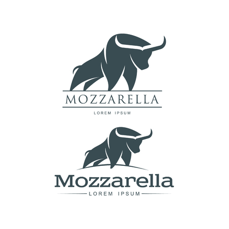 Buffalo mozzarella italian cheese brand, icon design icon pictrogram silhouette. Horned bull illustration with mozzarela inscription set. Isolated flat illustration on a white background.