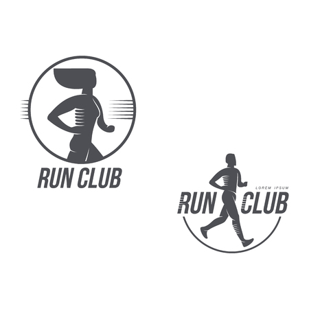 Sportive man, woman jogging, running marathon brand, icon design icon silhouette. Male, female adult character illustration with run club inscription. Isolated flat illustration on a white background.