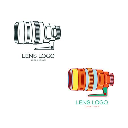 Vector fotocamera lens gekleurd en monochrome pictogrammen pictogramserie. Platte cartoon geïsoleerde illustratie op een witte achtergrond. Logo merkconcept voor fotostudio ontwerp