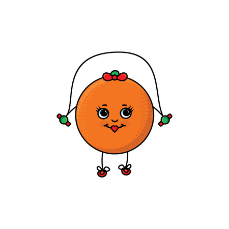 vector flat sketch fresh ripe orange female character with eyes, hands and legs jumping on skipping rope. Isolated illustration white background. Healthy vegetarian eating, dieting and sport lifestyle Ilustrace