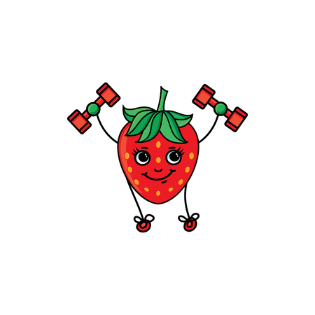 vector flat sketch red strawberry character with eyes, hands and legs making exercises with dumbbells. Isolated illustration on white background. Healthy vegetarian eating, dieting and sport lifestyle