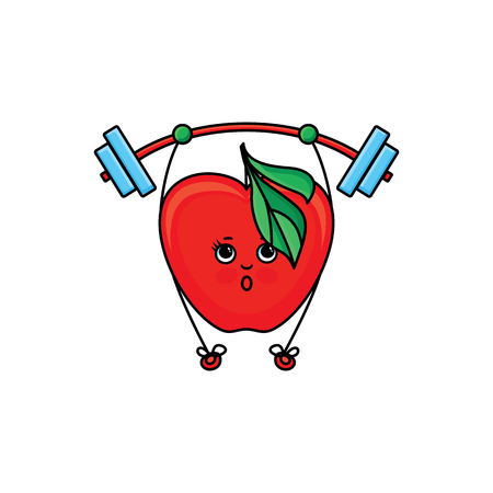 vector flat sketch style red fresh ripe apple character with eyes, hands and legs lifting barbell. Isolated illustration on white background. Healthy vegetarian eating, dieting and sport lifestyle Illustration