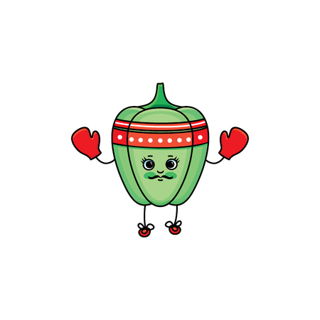 vector flat sketch green fresh ripe pepper character with eyes, hands and legs boxing in red gloves. Isolated illustration on white background. Healthy vegetarian eating, dieting and sport lifestyle