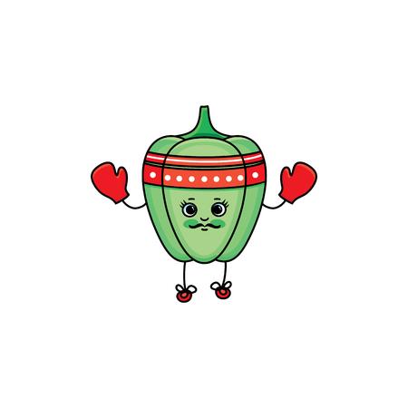 Vecteur plat croquis vert caractère poivre mûr avec des yeux, des mains et des jambes de boxe dans les gants rouges. Illustration isolée sur fond blanc. Saine alimentation végétarienne, régime et style de vie sport Banque d'images - 89306323