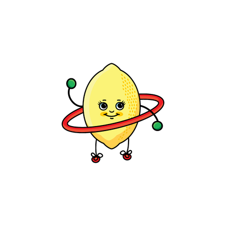 vector flat sketch style yellow fresh ripe lemon character with eyes, hands and legs working out with hoola hoop. Isolated illustration white background. Healthy eating dieting and sport lifestyle