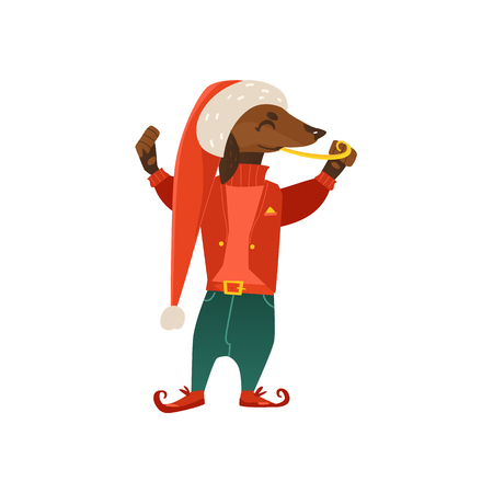 vector cartoon stylized humanized dachshund dog character. Male animal in christmas hat elf fancy costume standing alone with candy. isolated illustration on a white background.