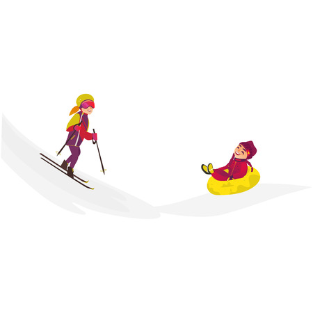 Vector cartoon teens doing sports. Girl with pigtails having fun riding inflatable rubber tube sled, tubing in winter outdoor clothing, another woman skiing. Isolated illustration on white background Ilustrace