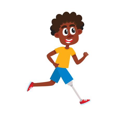Jonge zwarte, Afrikaanse Amerikaanse mens met prothese, sportman die op kunstmatig been, beeldverhaal vectordieillustratie lopen op witte achtergrond wordt geïsoleerd. Grappige cartoon zwarte man, sportman met prothetische been