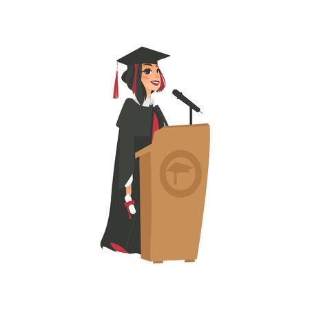 ベクトル フラット漫画女子短大, 大学幸せな大学院文字, 卒業ガウン、キャップ保持ディプロマ トリビューンのマイクで話す少女。白い背景に分離の図。 写真素材 - 89914851
