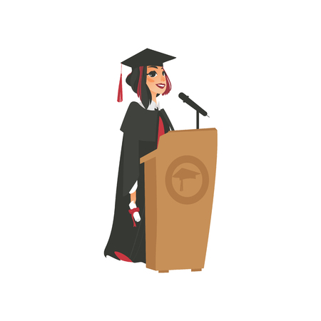 Vector flat cartoon female college, university happy graduate character, girl in graduation gown, cap holding diploma speaking in microphone at tribune. Isolated illustration on a white background. Vektorové ilustrace