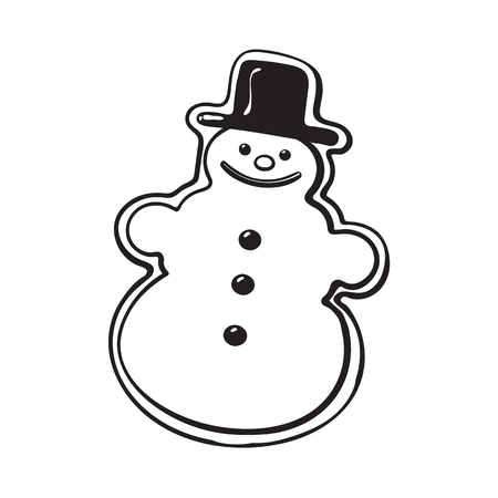 Glazed snowman-shaped homemade Christmas gingerbread cookie