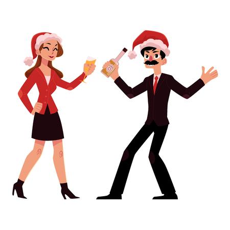 Man and woman in Santa hats having fun, drinking at corporate Christmas party Illustration