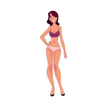Young beautiful slim Caucasian woman, girl in underwear, panties and bra Illustration