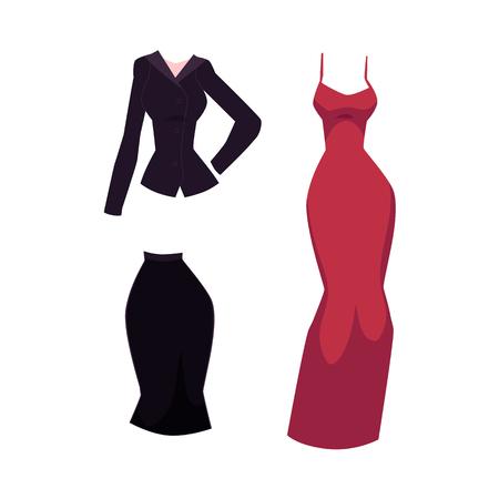 벡터 평면 사무실 슈트 유니폼 치마와 블라우스와 럭셔리 빨간색 저녁, 칵테일 드레스. 복장 집합입니다. 유행 유행 스타일 여자, 여성 의류. 흰색 배경에 고립 된 그림입니다. 스톡 콘텐츠 - 89914859