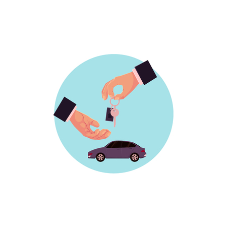 vector flat man hands in formal suit giving key of new car on the background of vehicle on blue circle. Isolated illustration on a white background. Car rent or sale concept