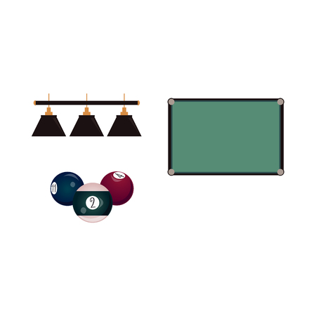 Set of flat style pool, billiard objects - top view table, group of cue balls and hanging lamps, vector illustration isolated on white background. Vector set of pool, billiard game objects
