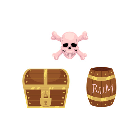 vector flat pirates and treasure symbols set. wooden rum barrel, oak old keg, skull and cross bones and locked treasure chest. isolated illustration on a white background. Illustration