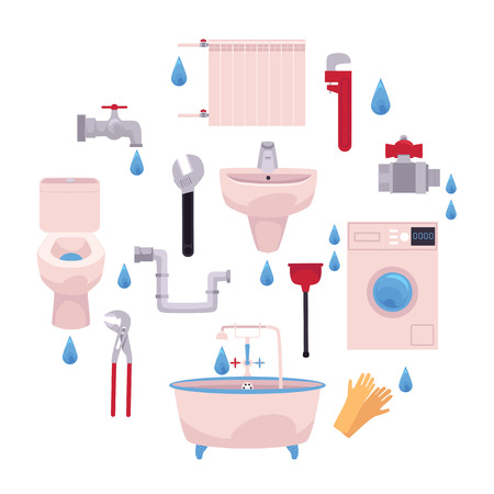 Vector cartoon flat plumbing tools, equipment set. Bath tube, sink, washing machine, toilet bowl. Gloves, adjustable, pipe monkey wrench, water valve, plunger Isolated illustration white background