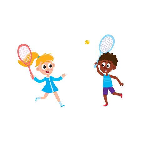 Vector flat cartoon teen children at summer camp concept. Caucasian girl in blue dress and african boy playing badminton, shuttlecock holding rackets. Isolated illustration on a white background. Иллюстрация