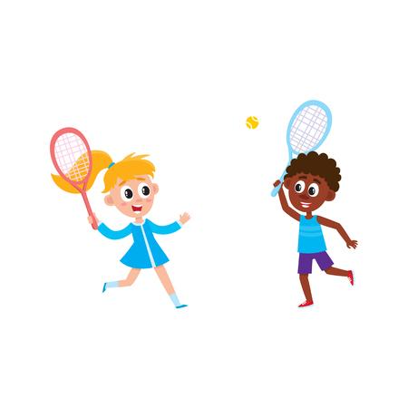 Vector platte cartoon tiener kinderen op zomerkamp concept. Kaukasisch meisje in blauwe kleding en Afrikaans jongens speelbadminton, de holdingsrackets van de shuttle. Geïsoleerde illustratie op een witte achtergrond.