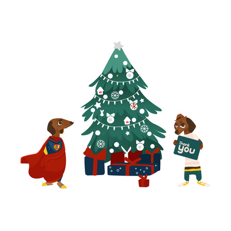 Christmas tree, presents and two dachshund, badger dog characters, flat vector illustration isolated on white background. Christmas tree and funny dog characters, superhero and holding thank you sigh