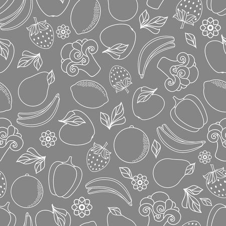 Vector platte schets stijl verse rijpe vruchten, groenten monochroom naadloze patroon. Appel, limoen, bellpepper, appel, watermeloen, peer, sinaasappel, aardbei, banaan, broccoli. Geïsoleerde illustratie