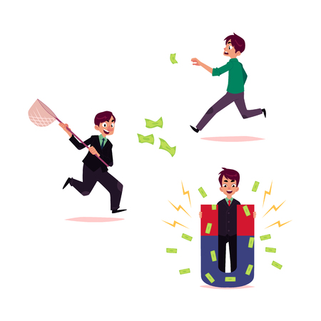 Man, businessman running after flying money, catch and magnetizing banknotes, cartoon vector illustration isolated on white background. Concept of earning money, attracting investments, flying money