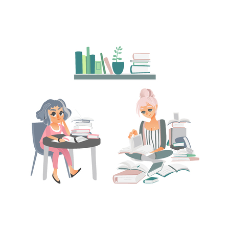 vector cartoon people reading books set. Woman in pink sitting at table with books thinking near bookshelf at home or library, another young girl sits at floor with pile of pooks around isolated Illustration