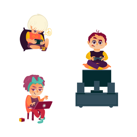 vector flat cartoon teen girl sits at chair using laptop, boys using smartphone and playing video console game by joystick sitting near tv panel stand