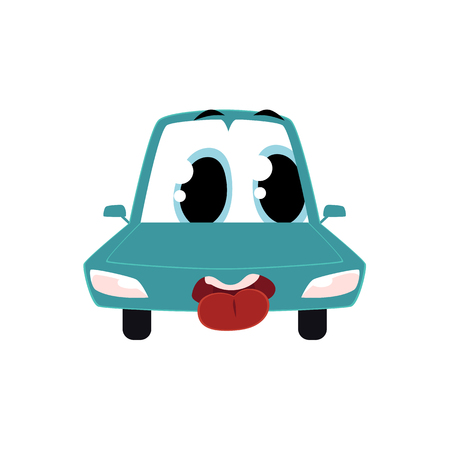 Funny cartoon, comic style car character with tongue put out, front view vector illustration isolated on white background. Cartoon, comic style car, automobile character with human face