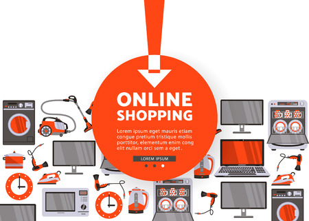Vektor-Online-Shopping-Werbung-Poster-Design. Gasherd, Geschirrspüler, Waschmaschine, Wasserkocher oder Teekanne, Fön, Bügeleisen, Staubsauger, Laptop, Monitor Uhr, Kühlschrank nahtlose Muster Standard-Bild - 89631432