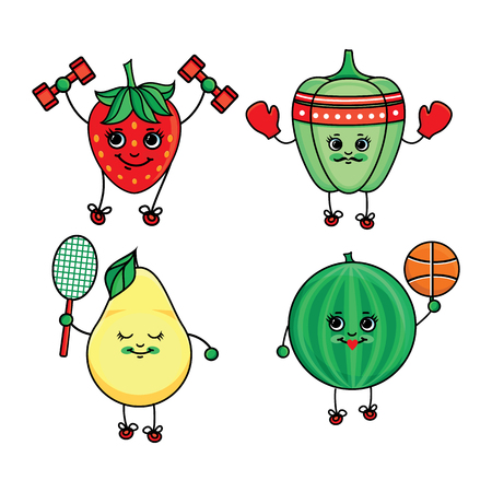 vector flat sketch fruits, vegetables characters doing sport set. Strawberry working out with dumbbells, pear playing badminton, bellpepper boxing, watermelon playing basketball. Isolated illustration