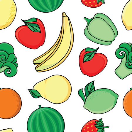 vector flat sketch style fresh ripe fruits, vegetables seamless pattern. Apple, lime bellpepper apple, watermelon pear, orange strawberry banana, broccoli. Isolated illustration on a white background.