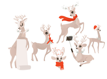 vector flat cartoon christmas reindeer holding blank paper scroll, deer in red scarf head and holding present box. Stock Photo