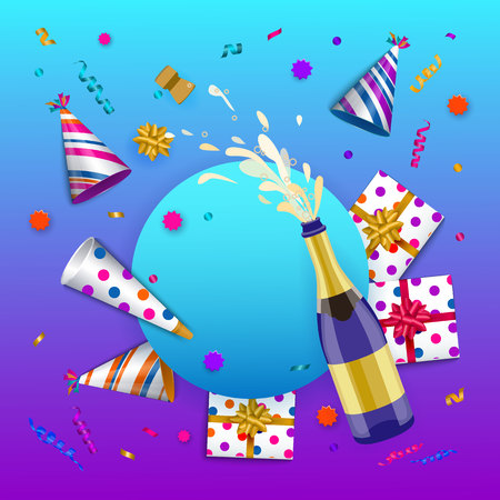 vector happy birthday congratulatory card, poster banner design template with glossy party hats present boxes in bright wrapping, confetti, opened shampagne bottle. Purple background illustration