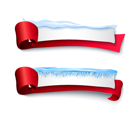 vector cartoon realistic white winter empty banner templates wit snow caps icicles red ribbons set. Illustration on grey background with space for your text. Christmas new year holidays design element