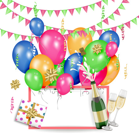 Vector happy birthday congratulatory card, poster banner design template with glossy party hats present boxes in bright wrapping, confetti, opened champagne bottle. Light grey background illustration.