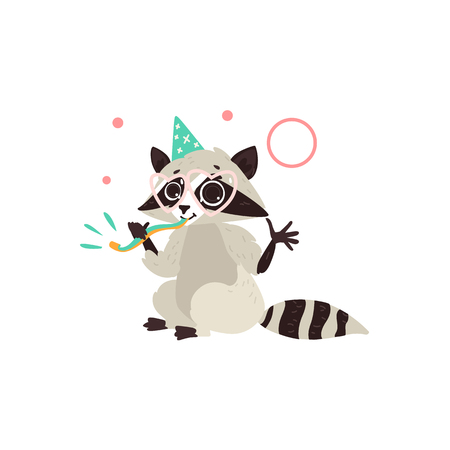 Vector cartoon stylized cheerful raccoon character having fun whistling wearing party hat happily smiling. isolated illustration on a white background. Animals party concept. Ilustrace
