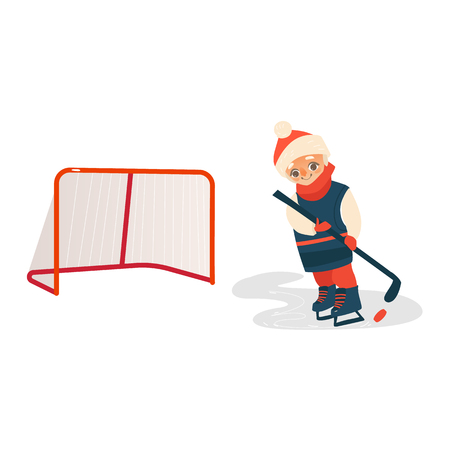 Happy boy playing hockey in blue red uniform, passing pack to the gate, flat cartoon vector illustration isolated on white background. Flat cartoon little boy playing hockey with puck and stick.