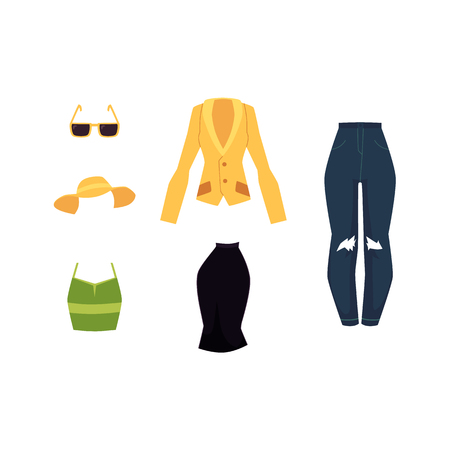 vector flat woman outfit apparel set. Fashionable Office corporate suit skirt, yellow jacket, summer sleeveless tank green shirt, sun hat, sunglasses. Isolated illustration on a white background.