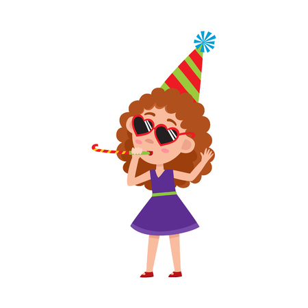 vector flat cartoon girl kid in funny heart glasses, purple dress and party hat faving fun whistling. isolated illustration on a white background. Kids patty concept