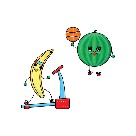 vector flat sketch fruits, vegetables characters with legs, hands and eyes doing sport set. banana running on treadmill, watermelon playing basketball. Isolated illustration on white background.