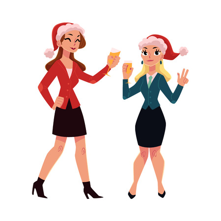 Two pretty girls, women in Santa hats drinking champagne, dancing at corporate Christmas party, cartoon vector illustration isolated on white background. Women, girls, colleagues celebrating Christmas Illustration