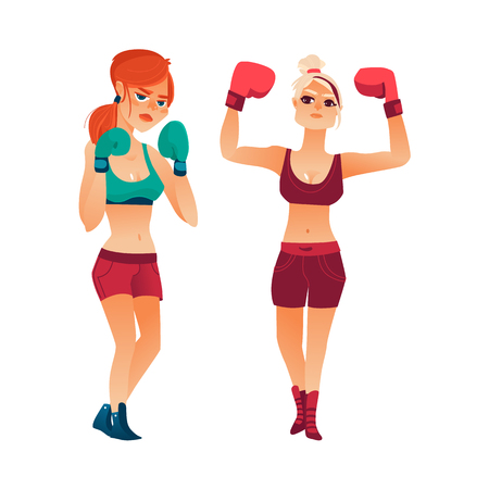 Two pretty young boxer women, girls in boxing gloves, flat vector illustration isolated on white background. Front view portrait of two pretty young women standing on boxing position. Illustration